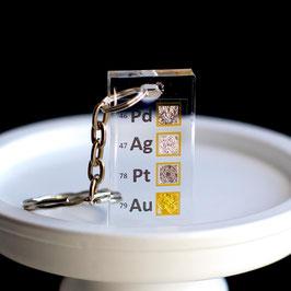 Metalli Nobili Pd, Pt, Au, Ag set Portachiavi