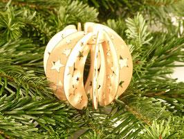Holzkugel mit Sternemuster - Weihnachtsdekoration