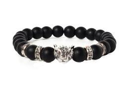 Bracelet Leopard Matte Black Silver