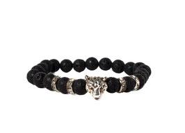 Bracelet Leopard Lavastone Black Silver