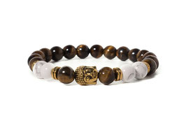 Bracelet Buddha Tigereye Brown/White Gold