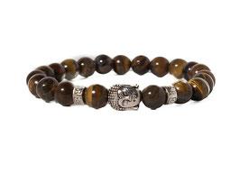 Bracelet Buddha Tigereye Brown Silver