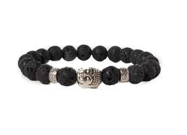 Bracelet Buddha Lavastone Black Silver