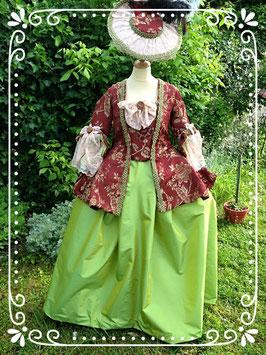 Caraco à plis Watteau . costume historique taille 40/42/44