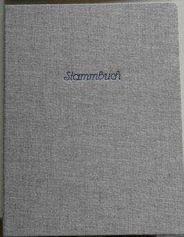 Stammbuch, grau-blau, Gewebe
