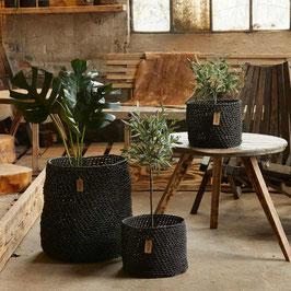 Woven Paper Basket. black