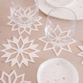Papier - Glasuntersetzer Schneesterne 6er Pack