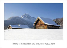 "Weihnachtskarte ""Heustadel vor Wettersteinspitze"""