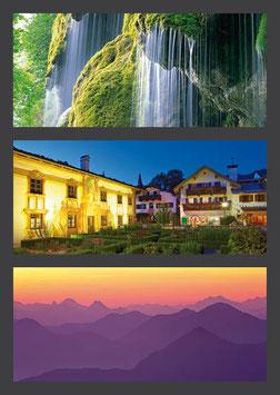 "Postkarte ""Schleierfälle | Pilatushaus | Berge am Morgen"""