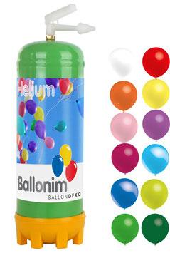 Helium Ballongas Einwegflasche 0,22m³ mit 30 bunten Luftballons und Ballonbänder