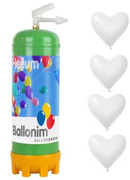 Helium Ballongas Einwegflasche 0,22m³ mit 30 weiße Luftballons-Herzen