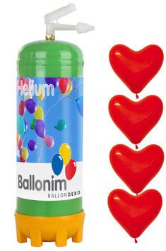 Helium Ballongas Einwegflasche 0,22m³ mit 30 rote Luftballons-Herzen