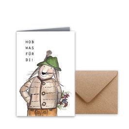 "Glückwunschkarte ""Hob was für di"""
