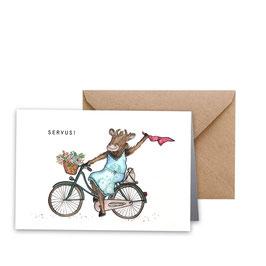 """Glückwunschkarte """"Die Kuh sagt Servus"""""""