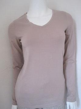 Langarm V-Shirt von White T