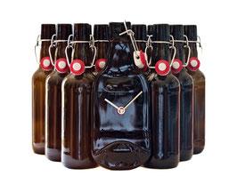 Bierflaschenuhr mit der formschönen Patentflasche...!
