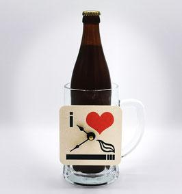 "Beer  Mug  with  a  beer  mat  Clock ""I love smoking..."""
