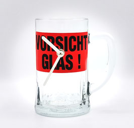 "Beer mug clock ""caution glass"""