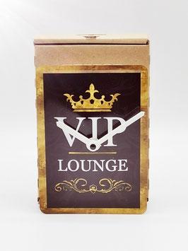 VIP Lounge exklusiv Blechpostkartenuhr tm 144x101mm in umweltkartonage...!