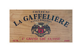 Front of the wooden box chateau la gaffeliere grand cru classe 1989 chateau la gaffeliere grand cru classe 1989