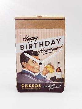 Happy Birthday Handsome Blechpostkartenuhr Tm 144x101mm in Umweltkartonage...!