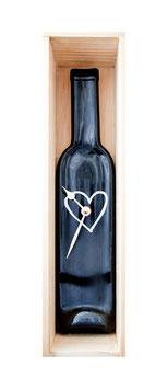 """Weinflaschen Uhr """"Liebe zum Genuß"""""""