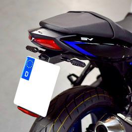Kennzeichenhalter mit 4 LED-Lauflicht-Blinkern (SORA) für Suzuki SV 650 (ab 2016)