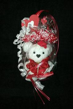 """Teddybär als Handtuch-Tier"""" plus Gästehandtuch in weihnachtlich gestalteter Geschenkverpackung in weiß mit rot"""