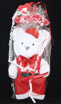 Bär in roter Hose in weihnachtlich gestalteter Geschenkverpackung, weiß mit rot