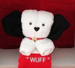 """Handtuchfigur als """"kleiner Hund in weiß"""" plus rotem Gästehandtuch"""
