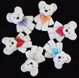 """Handtuchfigur """"Teddybär in weiß"""", fertig verpackt in Geschenkfolie"""