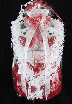 """Hochzeitsgeschenk als """"Hochzeitstorte"""", Handtuchfigur in weiß mit rot"""