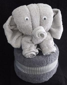 "Handtuchfigur ""silberner Elefant auf Duschtuch anthrazit"", fertig verpackt"