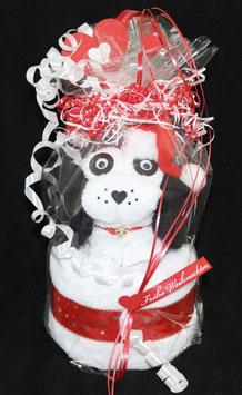 """kleiner Hund als Handtuch-Figur"""" in weihnachtlich gestalteter Geschenkverpackung"""