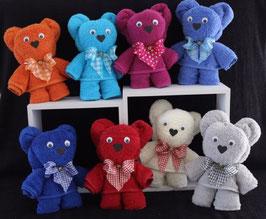 """Handtuchfigur """"Teddybär farbig"""", fertig verpackt in Geschenkfolie"""