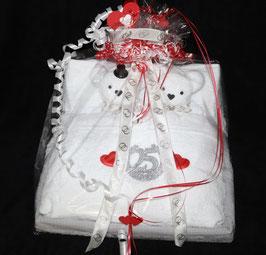"""Handtuchfigur """"silberne Hochzeit im Bett"""""""