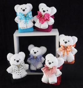 """Teddybär als Handtuch-Tier in weiß"""" plus Gästehandtuch in Geschenkverpackung"""