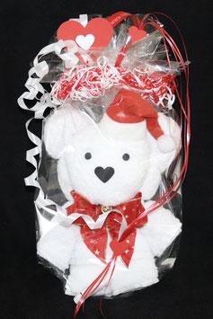 """Bär als Handtuch-Figur"""" in weihnachtlich gestalteter Geschenkverpackung, weiß mit rot"""