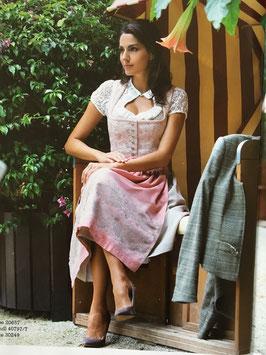 Country Line Dirndl rose/nude mit Knopfleiste, inklusive rosefarbener Schürze Größe 36 - sofort lieferbar