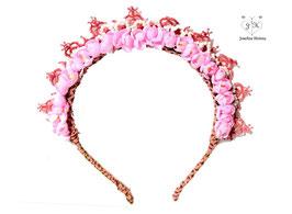 Haarreif mit roséfarbener Spitze und pinken Blumen - UNIKAT