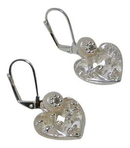 Ohrring filigranes Herz mit Süßwasserperle