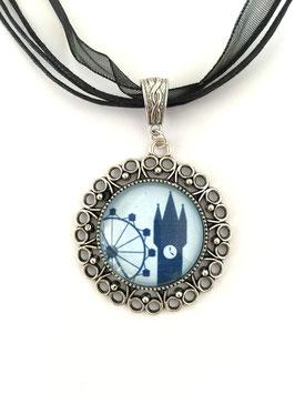 Straubing-Edition Motivkette dunkelblau-hellblau mit antiksilberfarbener Fassung (Ornament)