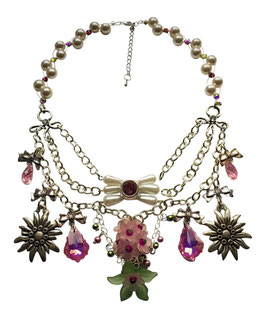 Dirndlcollier Sommerwiese mit Swarovski® Perlen und Swarovski® Kristallen rosa