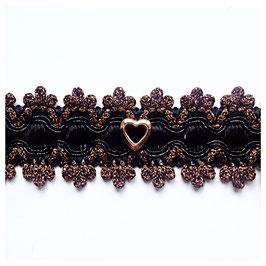 Opulentes Kropfband mit versilbertem Herz, schwarz/Kuper