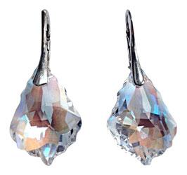 Funkelnde Silberohrringe mit Swarovski® Kristall hellblau