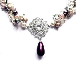 Perlenkette *Lace* Swarovski® Perlen berry/green