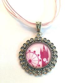 Straubing-Edition Motivkette dunkelrosa-rosa mit antiksilberfarbener Fassung (Ornament)