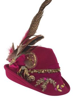 Unikat Trachtenhut pink mit Tigerbrosche