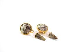 Ohrringe mit Hirschmotiv Medaillon Gold/Silberfarben und Rehspitze