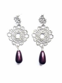 Ohrringe *Lace*, silber mit Swarovski® Tropfenperle Black / Berry
